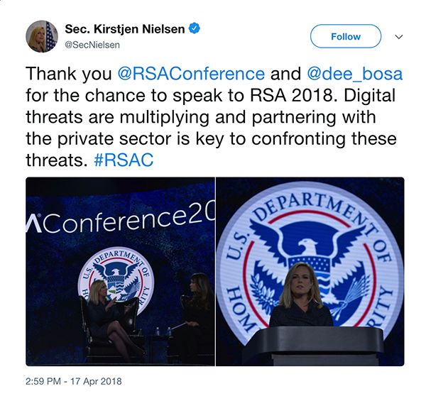 Here's What You Missed at RSA Conference 2018 - Sec. Kirstjen Nielsen tweet
